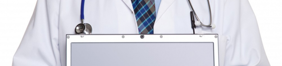 Doctor with Laptop for sign up, from shutterstock